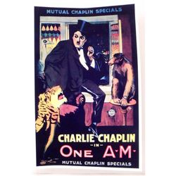 """CHARLIE CHAPLIN """"ONE A.M."""" MOVIE POSTER PRINT APPROX 11"""" X 17"""""""