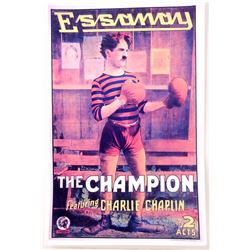 """CHARLIE CHAPLIN """"THE CHAMPION"""" MOVIE POSTER PRINT APPROX 11"""" X 17"""""""