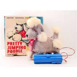 VINTAGE 1960'S AMICO BATTERY OPERATED REMOTE CONTROL TOY PRETTY JUMPING POODLE