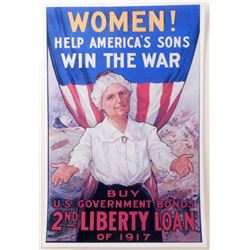 "WOMEN HELP AMERICAN SONS WW1 PROPAGANDA POSTER PRINT APPROX 11"" X 17"""