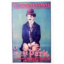 """CHARLIE CHAPLIN """"IN THE PARK"""" MOVIE POSTER PRINT APPROX 11"""" X 17"""""""