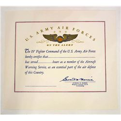 WW2 U.S. ARMY AIR FORCE AIRCRAFT WARNING CERTIFICATE