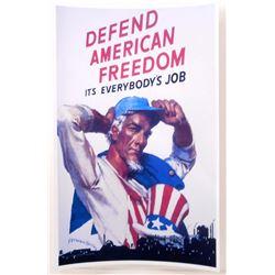 "UNCLE SAM DEFEND AMERICAN FREEDOM WW2 PROPAGANDA POSTER PRINT APPROX 11"" X 17"""
