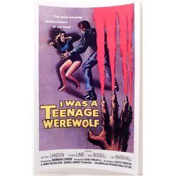 "I WAS A TEENAGE WEREWOLF MOVIE POSTER PRINT APPROX 11"" X 17"""