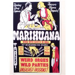 "MARIHUANA WEED WITH ROOTS IN HELL MOVIE POSTER PRINT APPROX 11"" X 17"""