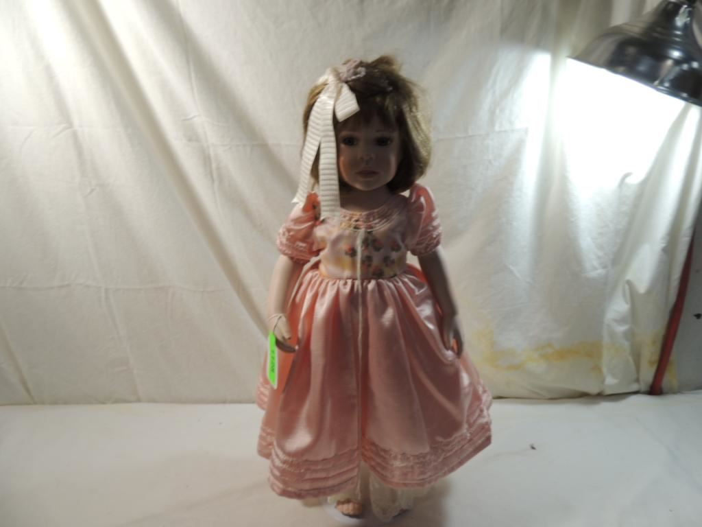 "5"" PARADISE GALLERY PORCELAIN DOLL IN PINK DRESS"