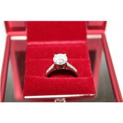 STAMPED 14K WHITE GOLD DIAMOND RING