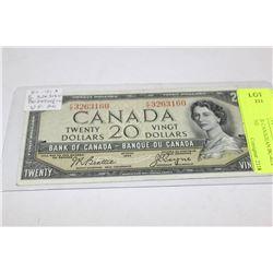 1954 20 DOLLAR CANADIAN BC-41A BEATTIE / COYNE