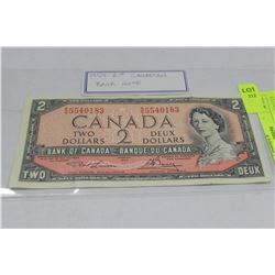1954 CANADA 2 DOLLAR BANKNOTE