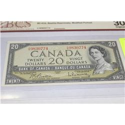 1954 BANK OF CANADA 20 DOLLAR CERTIFIED