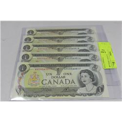 1973 GEM UNCIRCULATED 1 DOLLAR X5