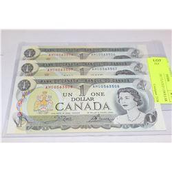1973 GEM UNCIRCULATED 1 DOLLAR X3