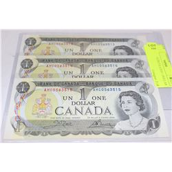 CANADA 1973 CONSECUTIVE ONE DOLLAR BANKNOTE X 3