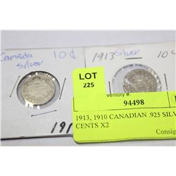 1913, 1910 CANADIAN .925 SILVER 10 CENTS X2