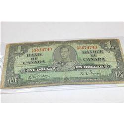 1937 CANADA 1 DOLLAR BANKNOTE