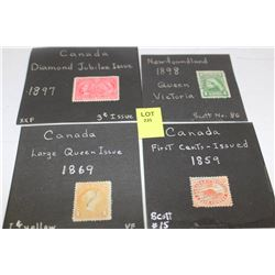 1859, 1869, 1897, 1898 STAMPS X4