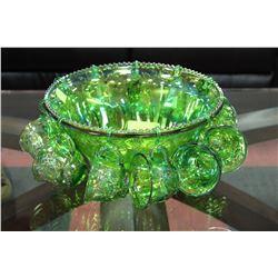 VINTAGE GREEN CARNIVAL GLASS PUNCH BOWL SET