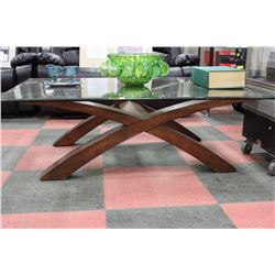 SHOWHOME WOOD AND GLASS COFFEE TABLE