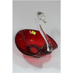 ART GLASS SWAN DISH