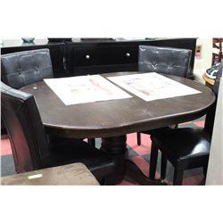 WOOD TABLE W LEAF AND 4 BLACK LEATHERETTE