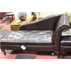 NEW BROWN LEATHERETTE STORAGE CHAISE LOUNGE