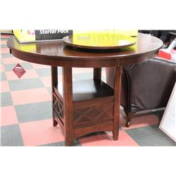 NEW WOOD BAR HEIGHT ROUND TABLE W LAZY SUSAN