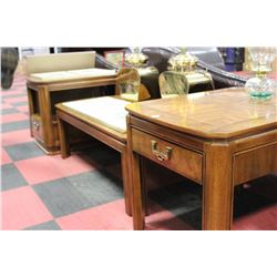 ESTATE SKLAR AND PEPPLAR 3 PC COFFEE TABLE SET
