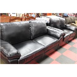 NEW BLACK LEATHERETTE SOFA W LOVE SEAT