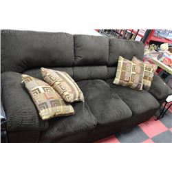 BROWN CORDUROY SOFA W 4 CUSHIONS