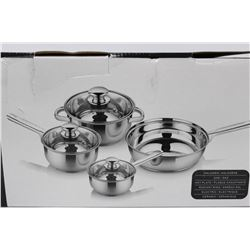 NEW STAINLESS STEEL 7 PC COOKWARE SET