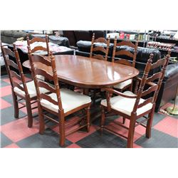 VILAS MAPLE TABLE W 2 LEAFS 6 CHAIRS BUFFET AND