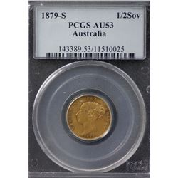 1879S ½ Sovereign PCGS AU53