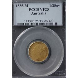 1885M ½ Sovereign PCGS VF25