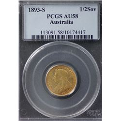1893S ½ Sovereign PCGS AU58