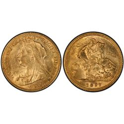 1897S ½ Sovereign PCGS AU58