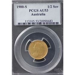 1900S ½ Sovereign PCGS AU53
