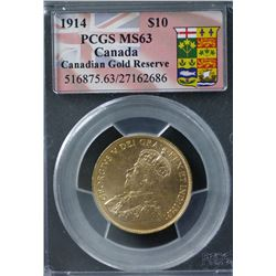 Canadian 1914 $10 Gold PCGS MS63