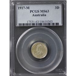 1917-M Threepence PCGS MS63