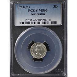 1961(m) Threepence PCGS MS66