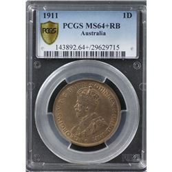 1911 Penny PCGS MS64+RB