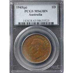 1945(p) Penny PCGS MS63BN