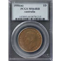 1950(m) Penny PCGS MS64RB