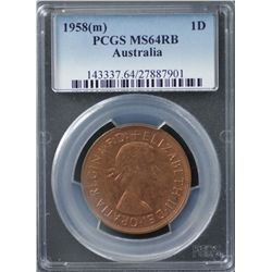 1958(m) Penny PCGS MS64RB