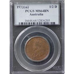 1932(m) ½ Penny PCGS MS64BN