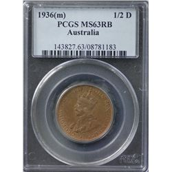 1936(m) ½ Penny PCGS MS63RB