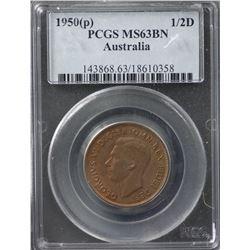 1950(p) ½ Penny PCGS MS63BN