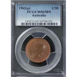 1962(p) ½ Penny PCGS MS65BN