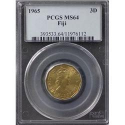 Fiji 3 Pence 1965 PCGS MS64