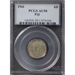 Fiji sixpence 1941 PCGS AU58