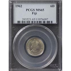 Fiji 6 Pence 1962 PCGS MS65